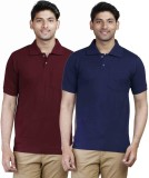 Fleximaa Solid Men's Polo Neck Maroon, D...