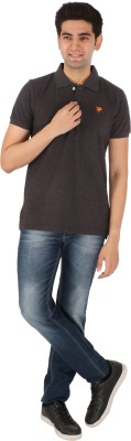 Tasho Zaara Solid Men's Polo Neck Grey T-Shirt