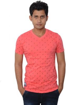 Lampara Polka Print Men's V-neck Red T-Shirt