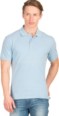 Wilkins & Tuscany Solid Men's Polo Neck Light Blue T-Shirt