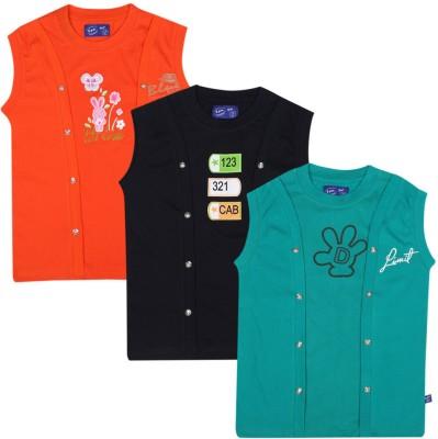 SPN Garments Printed Girl,s Round Neck Orange, Black, Green T-Shirt