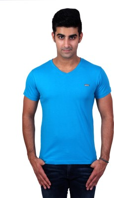 Bridge Solid Men's V-neck Light Blue T-Shirt