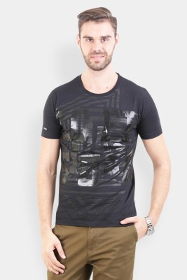 Crocodile Printed Men,s Round Neck Black T-Shirt