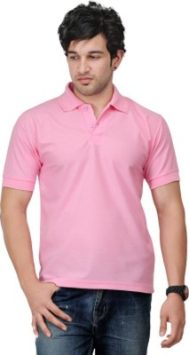 Larwa Solid Men's Polo Neck Pink T-Shirt