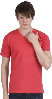 Tease Denim Embroidered Men's V-neck Red T-Shirt