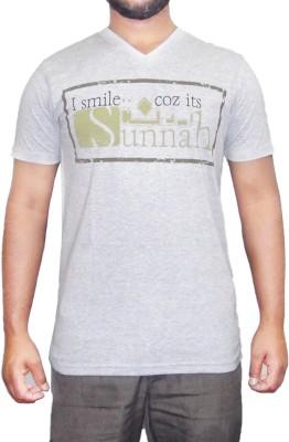 pious fashion club Printed Men,s, Boy's V-neck Grey T-Shirt