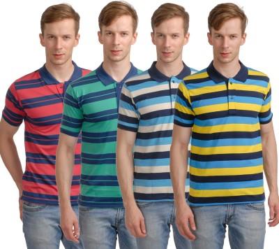 Superjoy Striped Men's Polo Neck Red, Green, Light Blue, Yellow T-Shirt