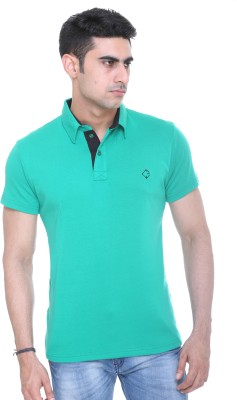 Colors and Blends Solid Men,s Polo Neck Green T-Shirt
