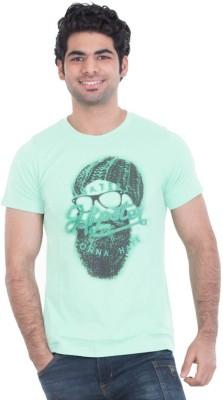 Zulements Printed Men's Round Neck Green T-Shirt