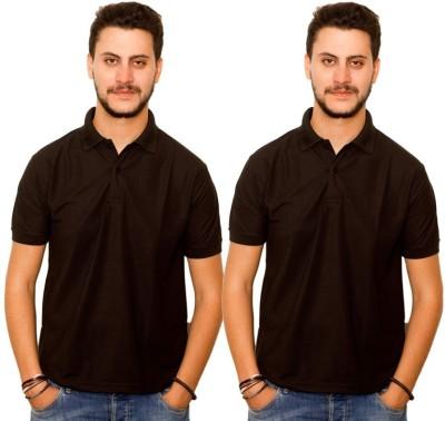 Skitt Clothing Co Solid Men's Polo Neck Black, Black T-Shirt