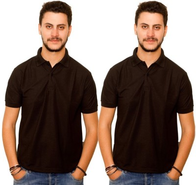Dreamz Clothing Co Solid Men,s Polo Neck Black, Black T-Shirt