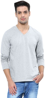 Softwear Solid Men's V-neck Grey T-Shirt