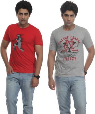 TT Printed Men's Round Neck Reversible Red, Grey T-Shirt