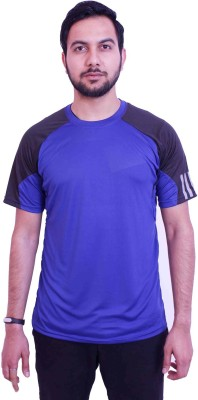 US Club Solid Men's Round Neck Blue, Black T-Shirt