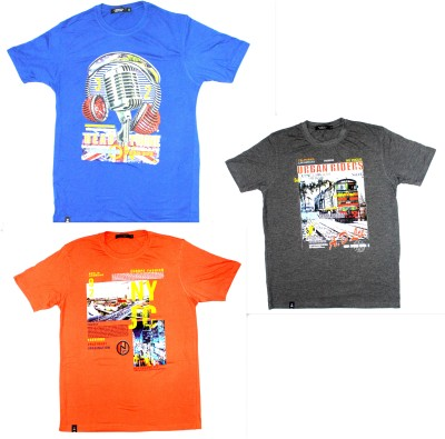 99DailyDeals Printed Men,s Round Neck Multicolor T-Shirt