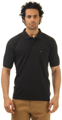 Monte Carlo Solid Men's Polo Neck Black T-Shirt