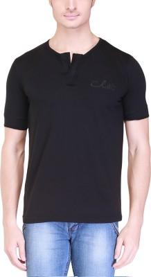 Clst Solid Men's Henley Black T-Shirt