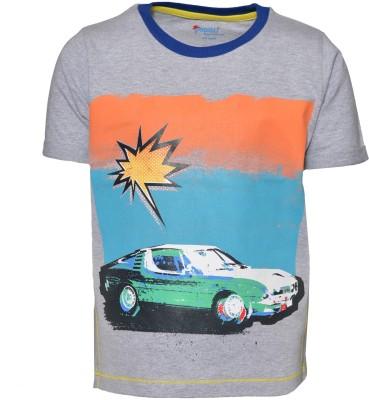 Pepito Printed Boy's Round Neck Grey T-Shirt