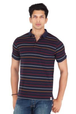 Webmachinez Striped Men's Polo Neck Blue T-Shirt