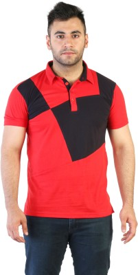 Acomharc Self Design Men's Polo Neck Red T-Shirt