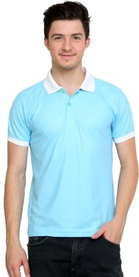 Dida Sportswear Solid Men's Polo Blue, White T-Shirt