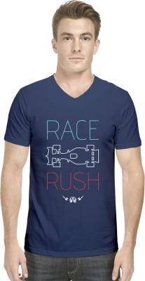 Hueman Printed Men's V-neck Dark Blue T-Shirt