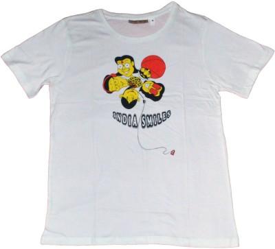 Indsights Printed Men's Round Neck White T-Shirt