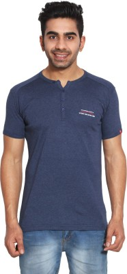 LE BON TON Solid Men's Henley Dark Blue, Red, Black T-Shirt