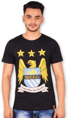 Manchester City FC Printed Men's Round Neck Black T-Shirt