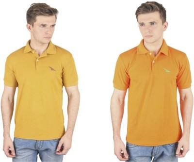 PRO Lapes Solid Men's Polo Neck Orange, Yellow T-Shirt