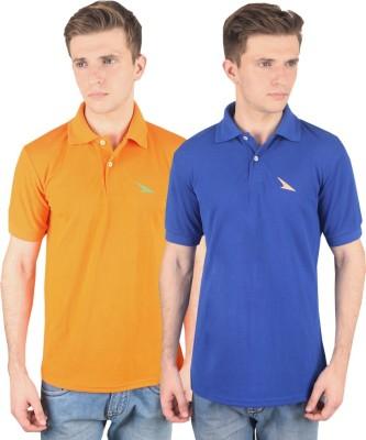 PRO Lapes Solid Men's Polo Neck Orange, Blue T-Shirt