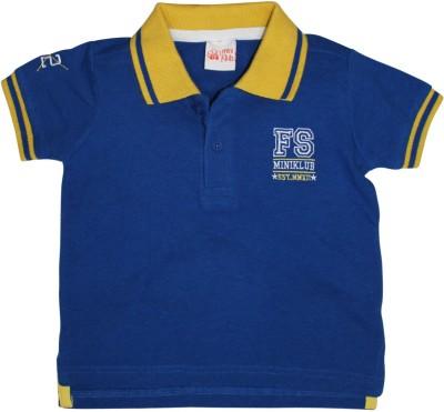 FS Mini Klub Printed Boy's Polo Neck Blue T-Shirt