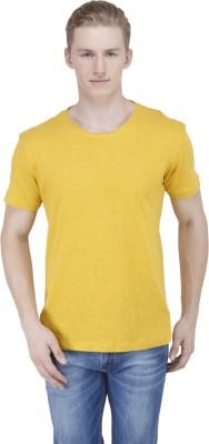 Sass Solid Men's Round Neck Yellow T-Shirt