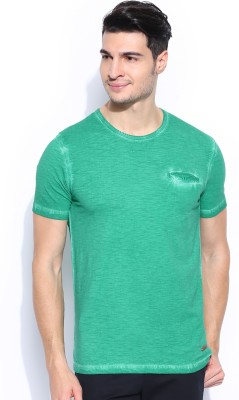 Mast & Harbour Solid Men,s Round Neck Green T-Shirt