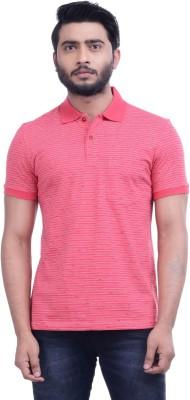 Hoffmen Self Design Men's Polo Neck Red T-Shirt