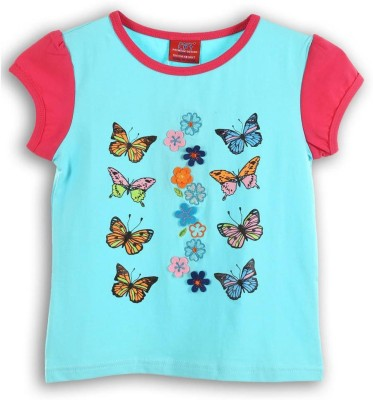 Lilliput Embroidered Girl's Round Neck Blue T-Shirt