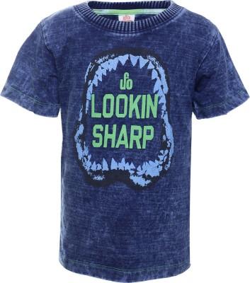 UFO Printed Boy's Round Neck Dark Blue T-Shirt