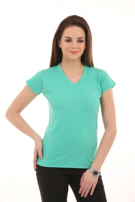 LovinoForm Solid Womens V-neck Green T-Shirt