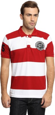 SharkTribe Striped, Embroidered Men's Polo White, Red T-Shirt