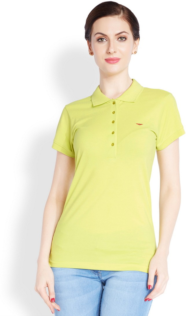 Park Avenue Solid Womens Flap Collar Neck Light Green T-Shirt