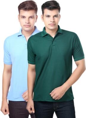 eSOUL Solid Men's Polo Neck Dark Green, Light Blue T-Shirt