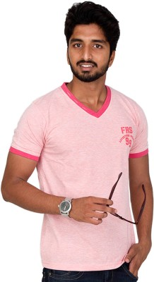 Furious Active Solid Men's V-neck Pink T-Shirt