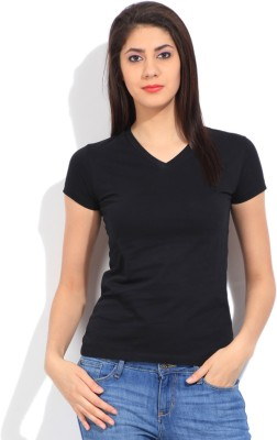 STYLE QUOTIENT BY NOI Solid Women's V-neck Black T-Shirt