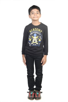 STOP by Shoppers Stop Printed Boy,s Round Neck Black T-Shirt