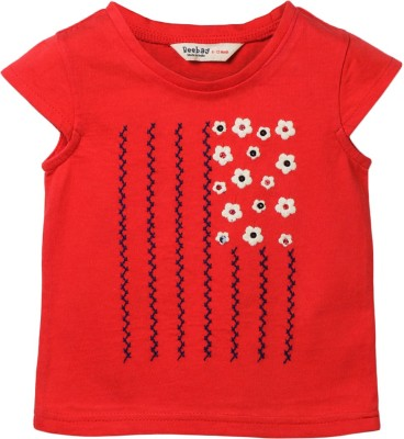 Beebay Embroidered Baby Girl's Round Neck Red T-Shirt