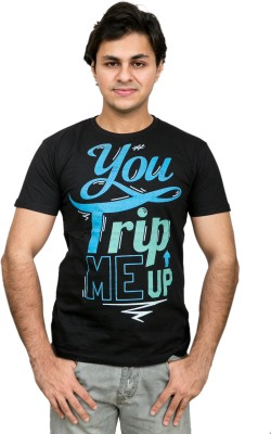 Daily Label Graphic Print Men's Round Neck Black T-Shirt