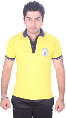 SST Solid Men,s Polo Neck Yellow T-Shirt