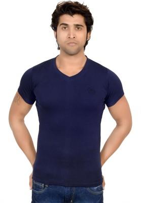 Ico Blue Star Solid Men's V-neck T-Shirt