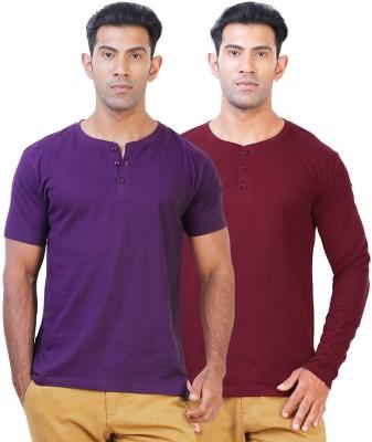 Click Hit Solid Men's Henley Purple, Maroon T-Shirt