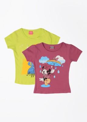 Cherish Printed Girl,s Round Neck Green, Pink T-Shirt